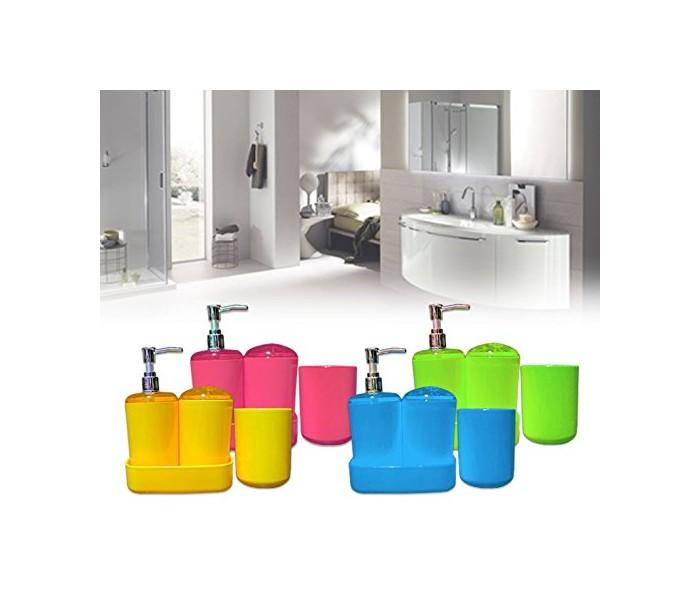 Set De Baño Jabonera:Set 4 piezas de accesorios de baño – Incluye dispensador de jabón y