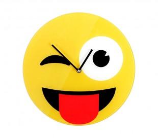 79/3229 Reloj de pared de vidrio del emoticono guiño con lengua fuera diámetro d