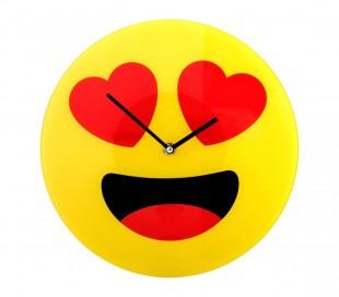 79/3231 Reloj de pared de vidrio del emoticono gafas de sol diámetro de 30 cm