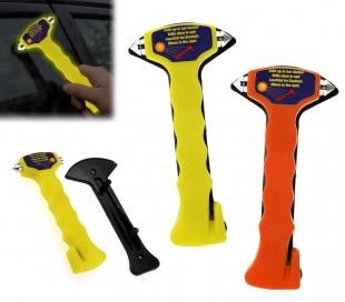 00187 Martillo de emergencia rompecristales para coche (fluorescente)