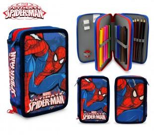 SP16109 Estuche escolar de Spiderman de 3 cremalleras y 43 piezas
