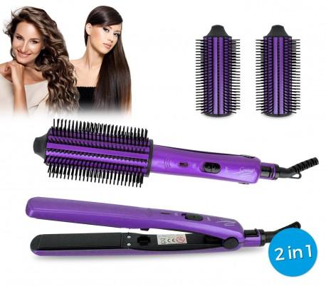 JY-802 Plancha y cepillo de pelo 2 en 1  Capriccio para pelo liso y rizado