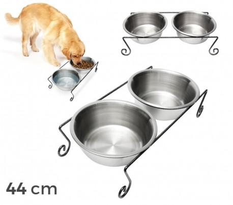 181295 Doble comedero de acero para perros criados de 44x11 cm