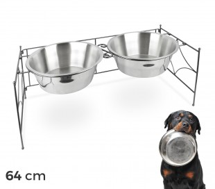 521029 Doble comedero de acero para perros criados de 53x22 cm