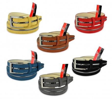 R003 Cinturon ajustable de hombre Pierre Cardin en cuero agamuzado