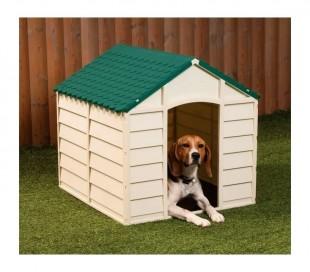 315917 Caseta de perro hecha de resina 72x71,5x68 cm de color verde