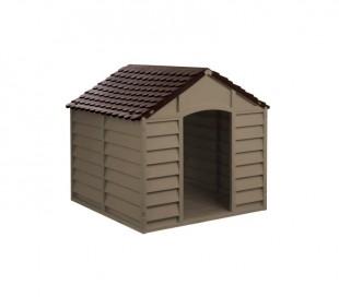 316924 Caseta de resina para perros 72x71,5x68 cm de color marrón