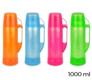 059166 Termo para bebidas WELKHOME recubierto de plástico de colores 1000 ml