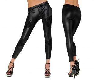 J-0212 Leggings de mujer mod. JUPITER efecto piel con detalles de encaje