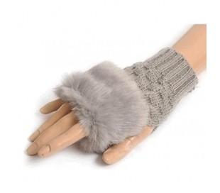 Guantes de mujer femenino con dedos al aire efecto piel sintética con pelo