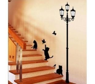 Adhesivo vinilo decorativo dibujo gatos y farola para la casa 70 x 50 cm