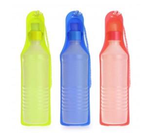 Botella de agua portátil con recipiente bebedero para perros y gatos (300ml)