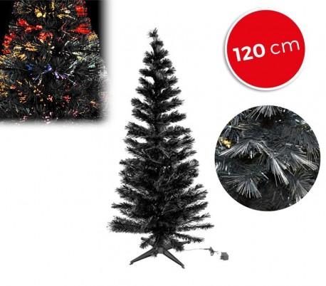 272332 Árbol de navidad en color negro con fibra óptica luminosa multi