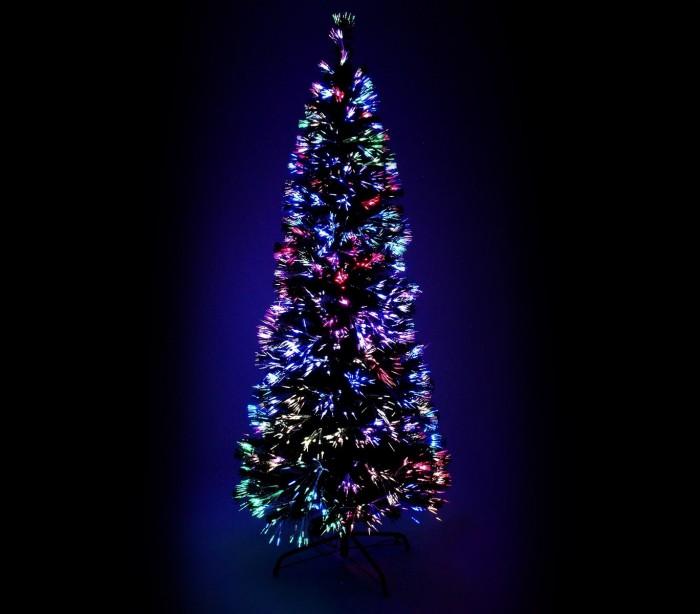 rbol de navidad en color negro con fibra ptica luminosa multicolor c