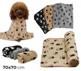 15352 Manta de lana para mascotas con motivo de patitas 70x70 cm