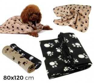 15353 Manta de lana para mascotas con motivo de patas de 80 x 120 cm