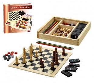 85442 Caja de madera mod.WOODEN GAMES con 4 juegos en 1 ideal para llevar de via