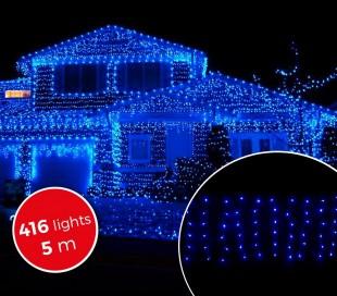031434 Cortina con 416 luces led azules para la navidad (5metros)