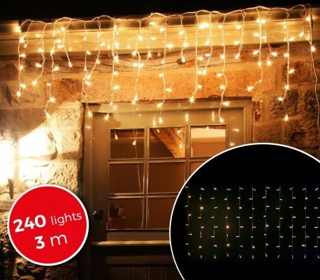 031342 Cortina con 240 luces led blancas para la navidad (3 metros)