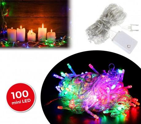 498831 Tira led de 100 guirnaldas efecto multicolor (cable transparente)
