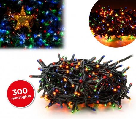 013591 Tira led de 300 guirnaldas efecto multicolor (cable verde)