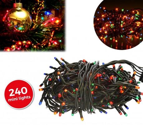 013546 Tira led de 240 guirnaldas efecto multicolor (cable verde)