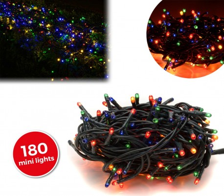 013492 Tira led de 180 guirnaldas efecto multicolor (cable verde)