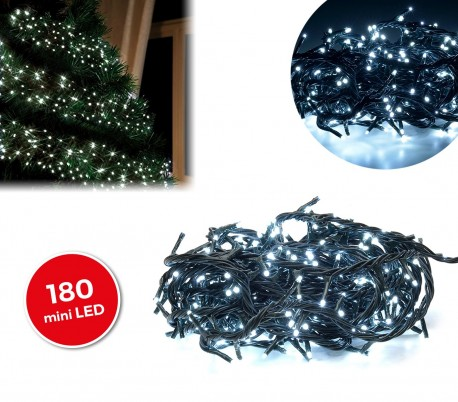 498923 Tira led de 180 guirnaldas con luces blancas(cable verde)