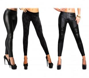 Set de 3 leggins elásticos para mujer mod.NAJA efecto piel con detalles de encaj