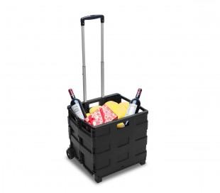 334115 Carrito de la compra negro plegable de plástico capadidad hasta 25 kg
