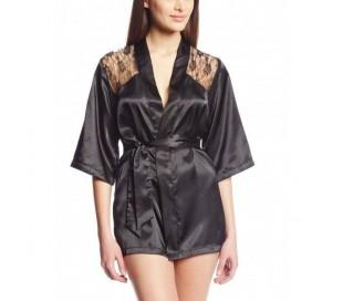 Bata encaje ropa interior noche mujer lencería sexy sensual kimono efecto seda