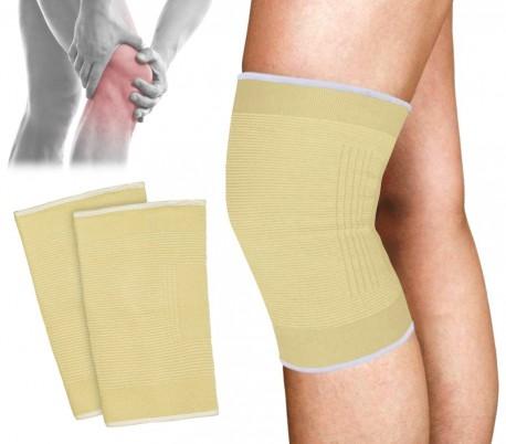 068089 Set de 2 soportes para rodilla de algodón elástico EVERTOP amarillo