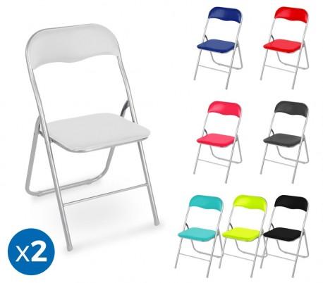 2008AN0816 Set de 2 sillas plegables mod. Madrid base metálica asiento acolchado