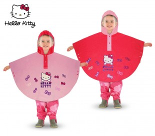 HK811 Poncho impermeable para niñas Hello Kitty con capucha ( 2 a 6 años)