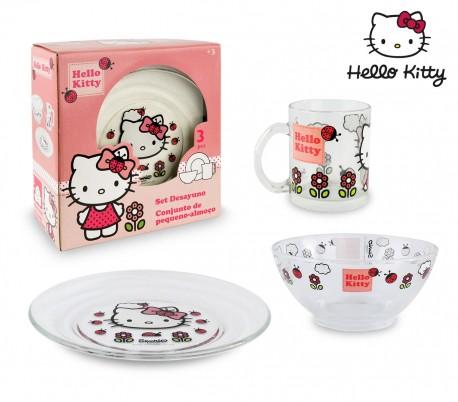 HK7733 Conjunto vajilla de cristal para niñas mod.Hello Kitty