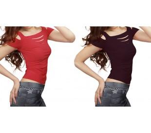Camiseta de manga corta con cortes en el escote y en las mangas varios colores
