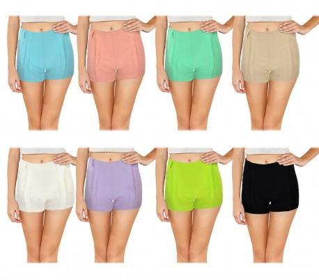 F9337 Pantalones Cortes Para Mujer Modelo Nice Hechos De Tela Elastica