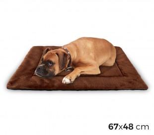 3002 Cama de terciopelo suave para perros tamaño M marrón 48 x 41 cm