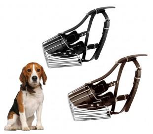 5808 Bozal para perros pequeños hecho de acero y cuero 9cm en dos colores