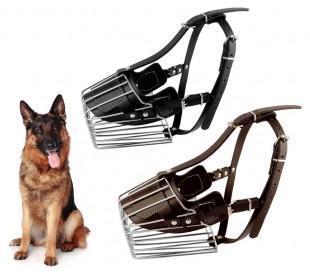 5810 Bozal para perros medianos hecho de acero y cuero 14cm en dos colores