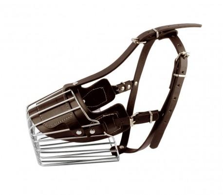 5809 Bozal para perros medianos hecho de acero y cuero 13cm en dos colores