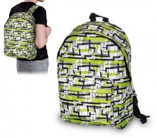 736208 Mochila hombro CARSWO blanco con verde y negro gráfico tela impermeable