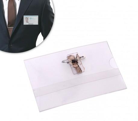 450182 Set de 24 porta placa o tarjeta de plastico con clip 90 x 60 mm