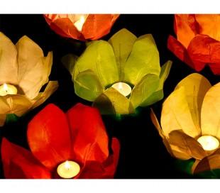 747011 Pack 6 linternas de la flor de loto flotantes 30 x 30 cm colores surtidos