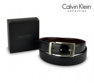 CK014 B36 Cinturón de cuero Calvin Klein con hebilla de acero pulido 110 / 125cm
