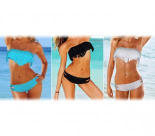 Bikini bañador a banda con franjas bikini relleno extraible