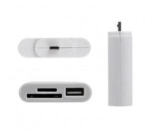Lector 5 en 1 tarjeta de memoria y USB con conector LIGHTNING para smartphone