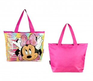 21-976 Bolso de color rosa para playa y ocio motivo MINNIE con cremallera