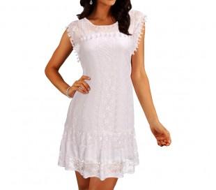 3912 Vestido corto de encaje para mujer cuello redondo tallas de la S a la XXL