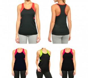 KZ-310 Camiseta deportiva para mujer con escote olímpico y con detalle flúor